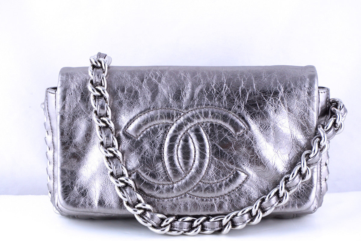 Chanel Silver Luxury Chunky Modern Chain Classic Flap Bag