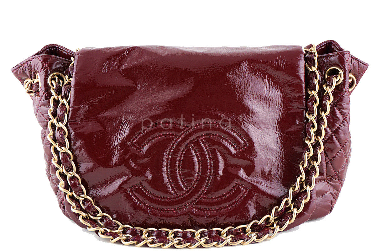 Chanel Bourdeaux Jumbo Patent Rock & Chain Flap Bag