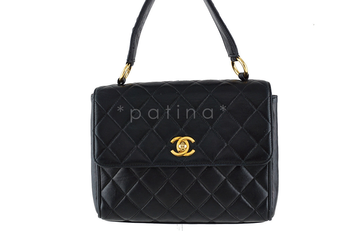 Chanel Black 2.55 Classic Quilted Small Kelly Flap Satchel Bag