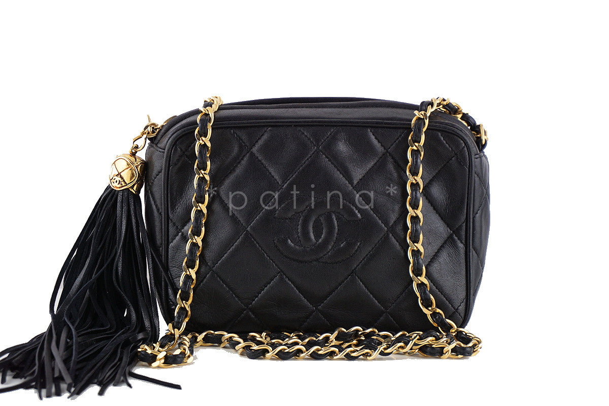 Chanel Black Classic Quilted Small Camera Case, Lambskin Bag