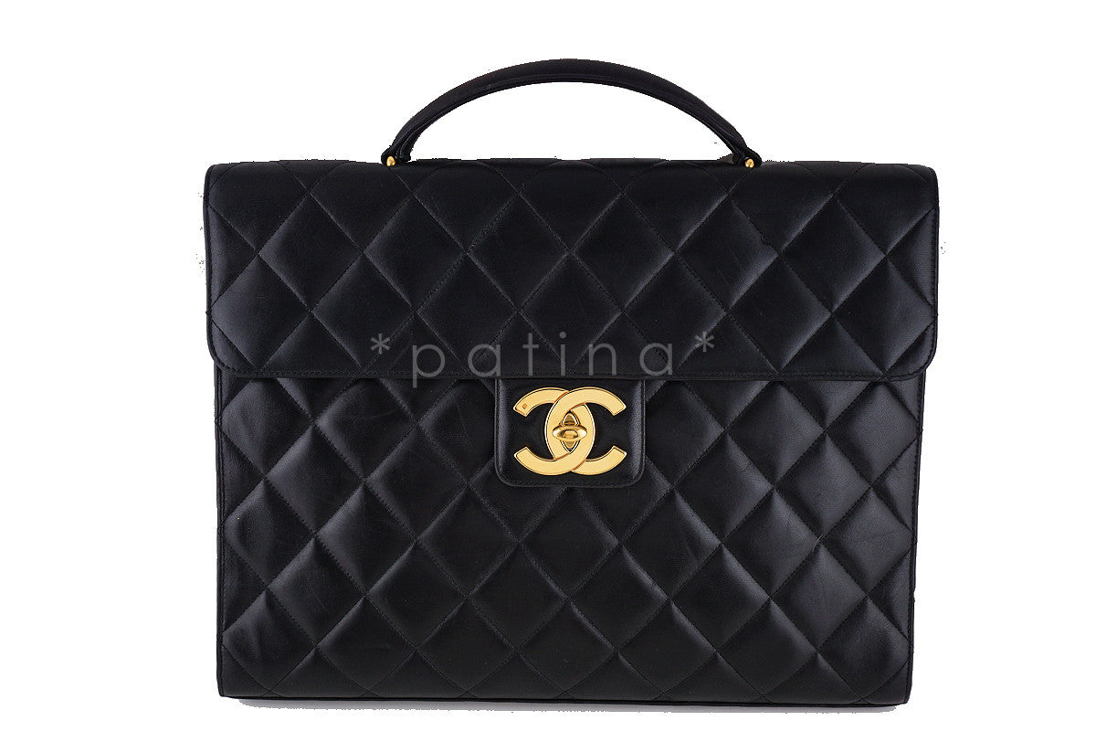 Chanel Black Classic Quilted Briefcase Flap Lambskin Tote Bag