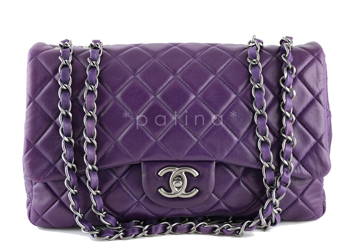 Chanel Violet Purple Lambskin Jumbo 2.55 Classic Flap Bag