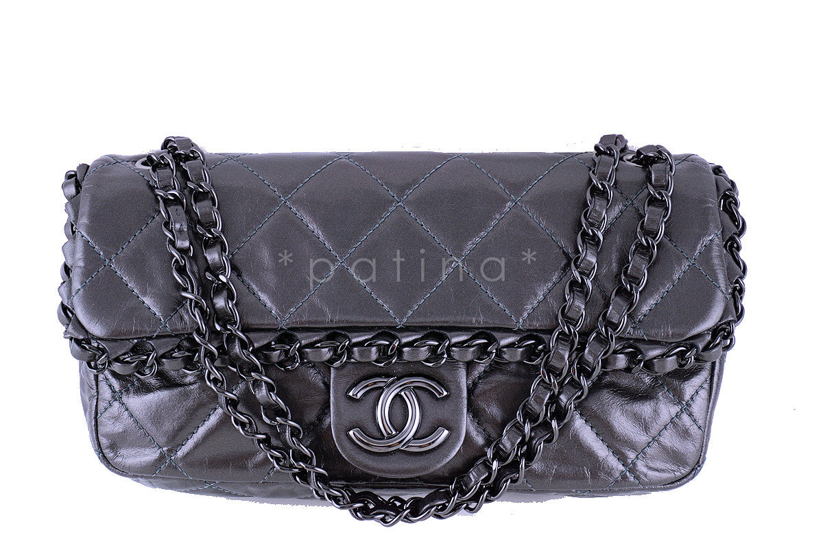Chanel Dark Silver Chain Me Around 2.55 Medium Classic Flap Bag