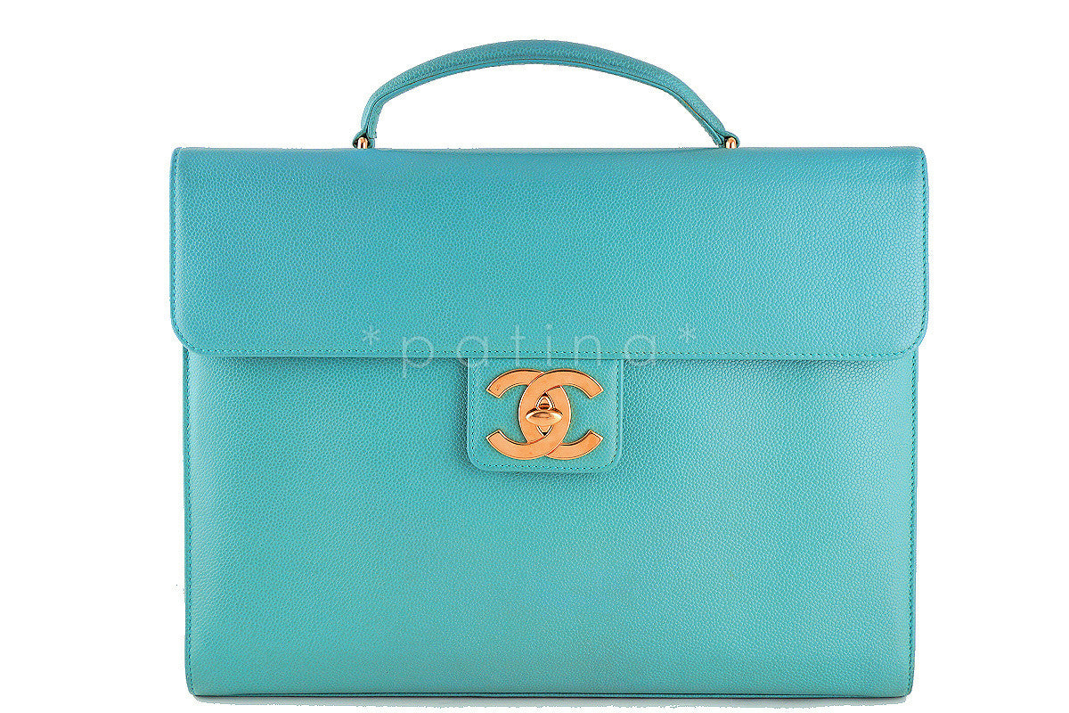 Chanel Seafoam Green Caviar Classic Briefcase Flap Tote Bag