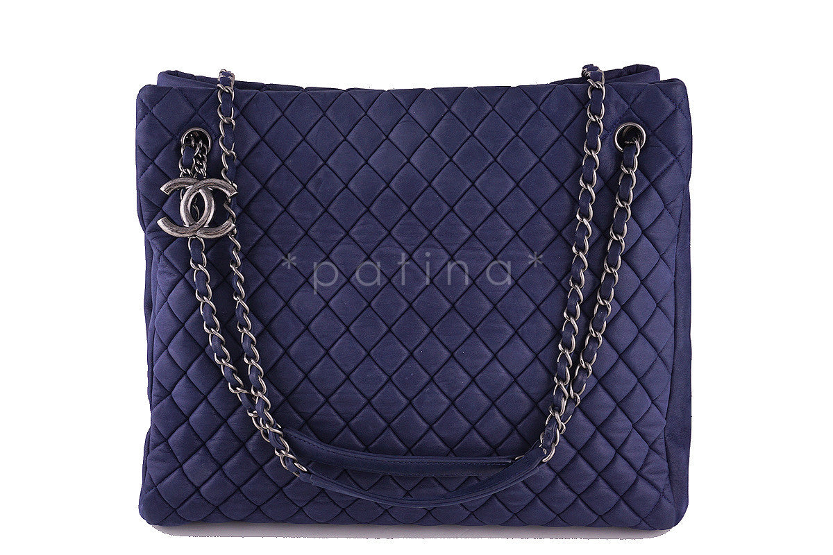 Chanel Navy Blue Bubble Quilted Luxe N/S CC Charm Tote Bag