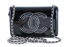 Chanel Black Pearl Black Patent Strass Crystals WOC Wallet on Chain Purse Bag - Boutique Patina  - 1