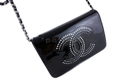 Chanel Black Pearl Black Patent Strass Crystals WOC Wallet on Chain Purse Bag - Boutique Patina  - 2