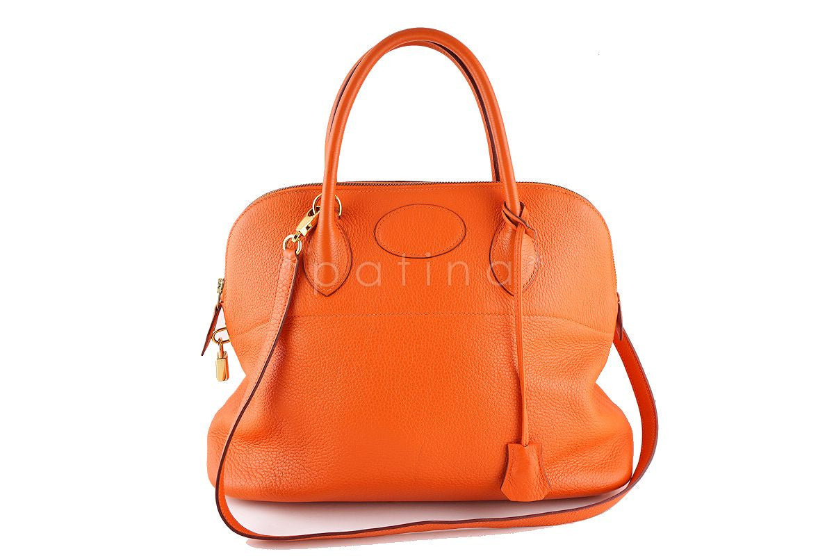 Hermes Orange 35/37cm Bolide Shoulder Tote Bag