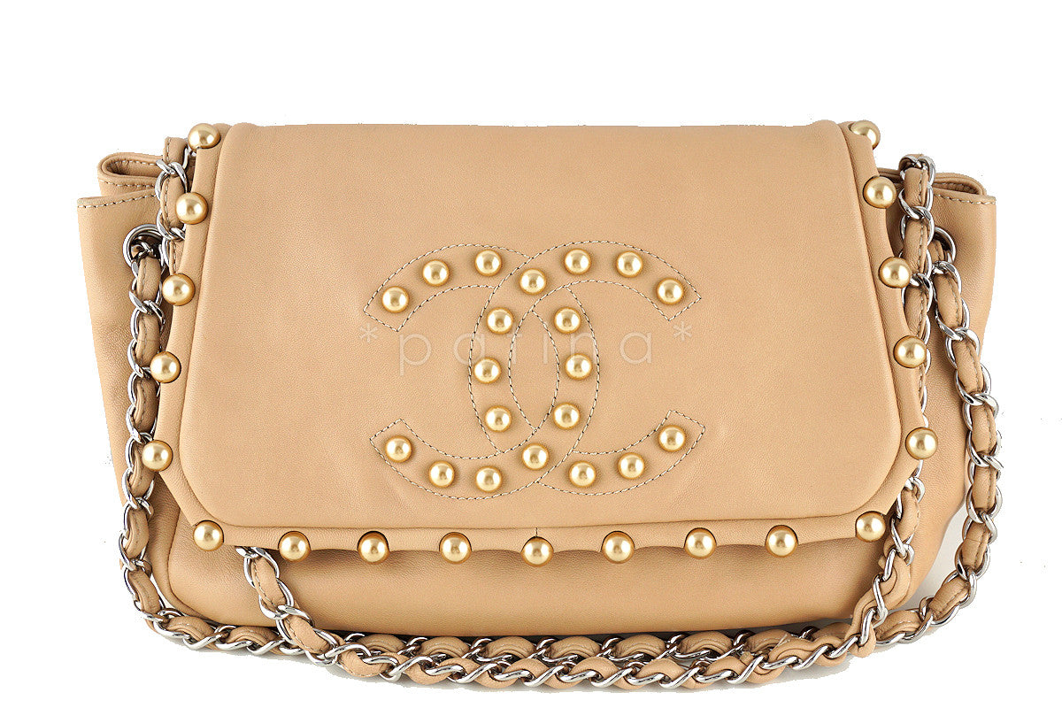 Chanel Beige Rare Pearl Obsession Jumbo Classic Accordion Flap Bag