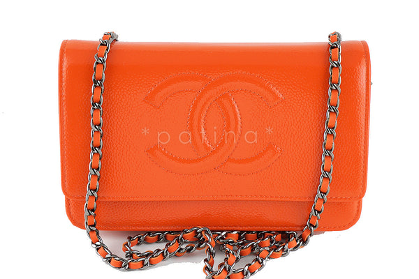 New Chanel Orange Patent Caviar Timeless Classic WOC Wallet on Chain Bag