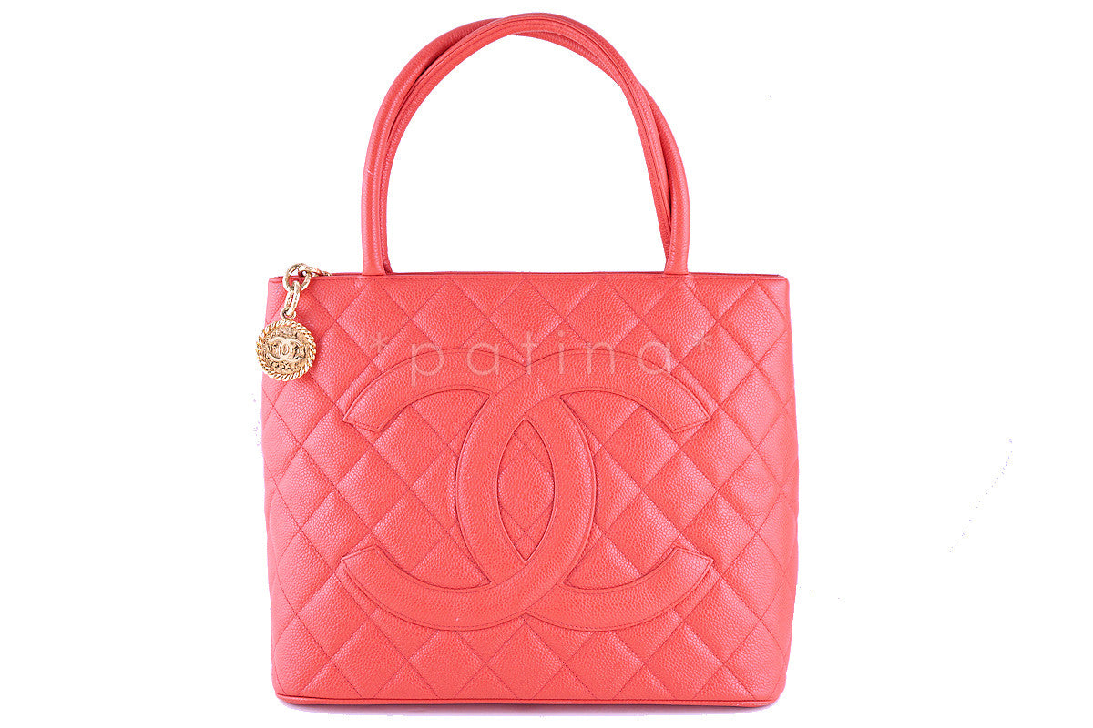 Chanel Coral Pink Caviar Classic Quilted Medallion Shopper Tote Bag