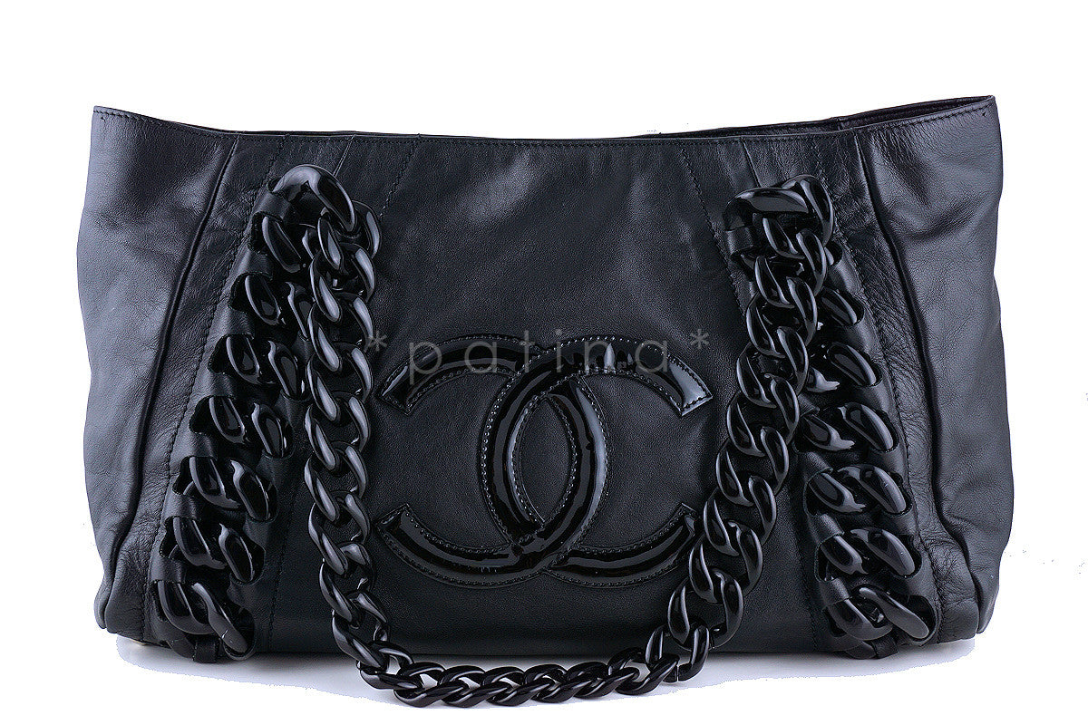 Chanel Black Luxury Modern Resin Chain Jumbo Shopper Tote Bag
