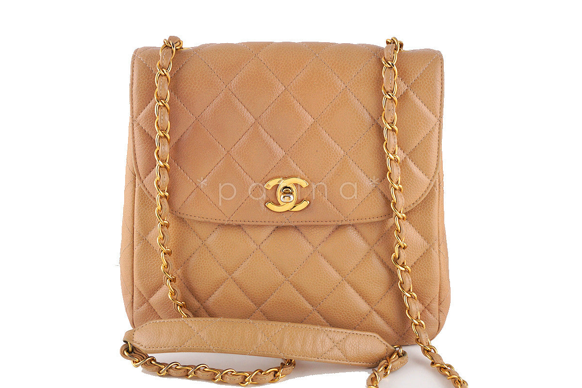 Chanel Beige Caviar Tall Quilted Classic Messenger Flap Bag