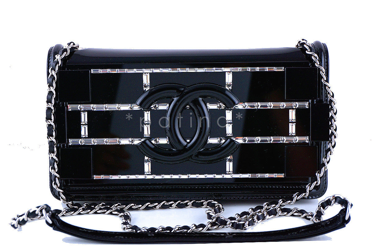 Chanel Black NWT Ultra Rare 2015 Limited Lego Flap Emerald Crystals Plexi Bag