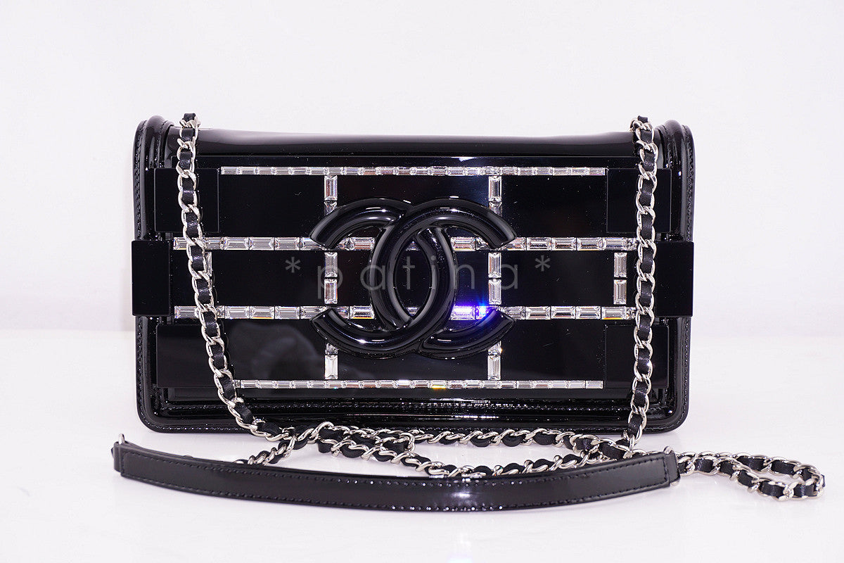 NEW Chanel Black 2015 Boy Brick Emerald Crystals Plexi Lego Flap Bag