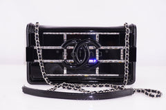 NEW Chanel Black 2015 Boy Brick Emerald Crystals Plexi Lego Flap Bag - Boutique Patina  - 1