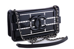NEW Chanel Black 2015 Boy Brick Emerald Crystals Plexi Lego Flap Bag - Boutique Patina  - 2