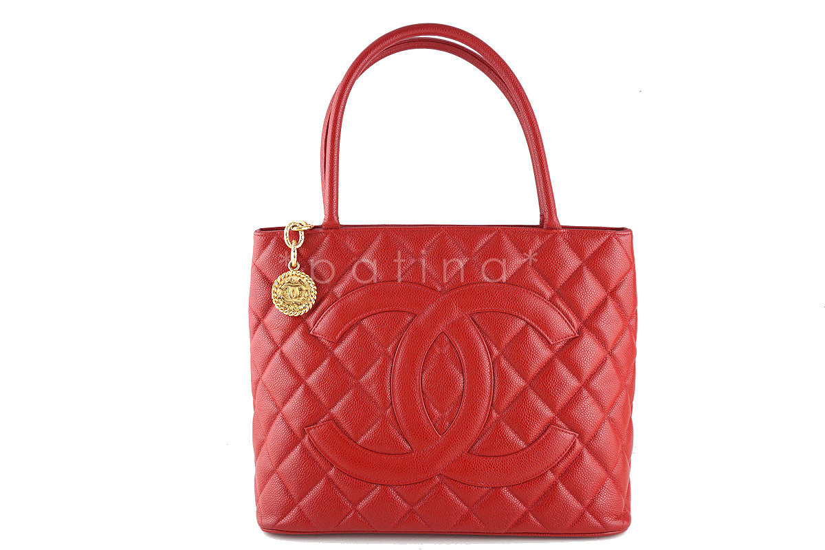 Chanel Red Caviar Classic Quilted Medallion Shopper Tote Bag
