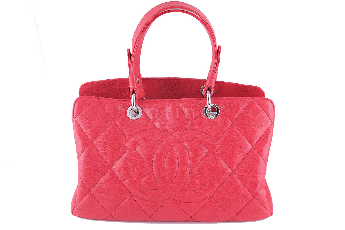 Chanel Fuchsia Pink Caviar Quilted Timeless Grand Shopping Tote GST Bag