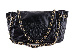Chanel Black Jumbo Patent Rock & Chain Flap Bag - Boutique Patina  - 2