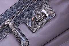 Limited Christian Dior Large Granville Python Gris Fonce Gray Messenger Tote Bag - Boutique Patina  - 11