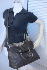 Limited Christian Dior Large Granville Python Gris Fonce Gray Messenger Tote Bag - Boutique Patina  - 15