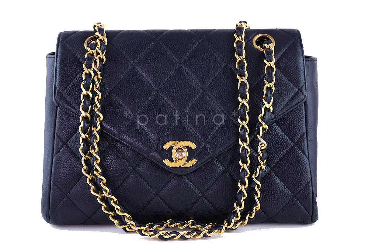 Chanel Dark Navy Caviar Classic Medium Angled Quilted Flap Bag