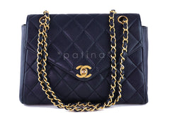 Chanel Dark Navy Caviar Classic Medium Angled Quilted Flap Bag - Boutique Patina  - 1