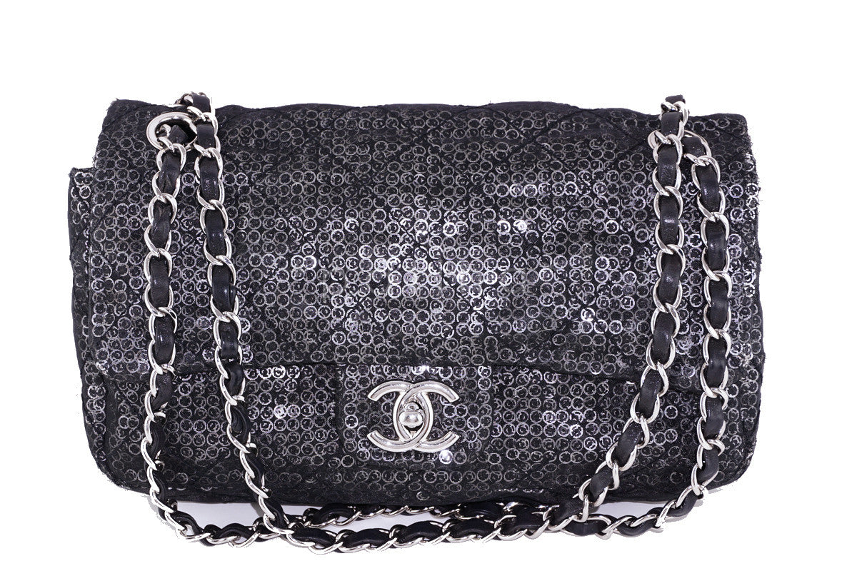 7f26f89c8742 Chanel LIMITED Black Sequin Quilted 2.55 Classic Medium Flap Bag