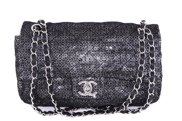 64b6ecaf036584 Chanel LIMITED Black Sequin Quilted 2.55 Classic Medium Flap Bag