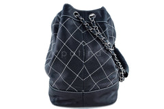 Chanel Black Large Contrast Stitch Quilted Drawstring Bag - Boutique Patina  - 2