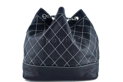 Chanel Black Large Contrast Stitch Quilted Drawstring Bag - Boutique Patina  - 3