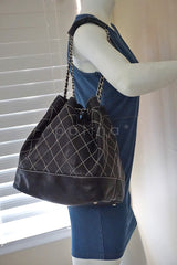Chanel Black Large Contrast Stitch Quilted Drawstring Bag - Boutique Patina  - 9