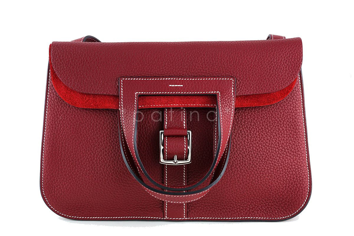 Hermes Rouge H Halzan 4-way Buckled Shoulder Bag