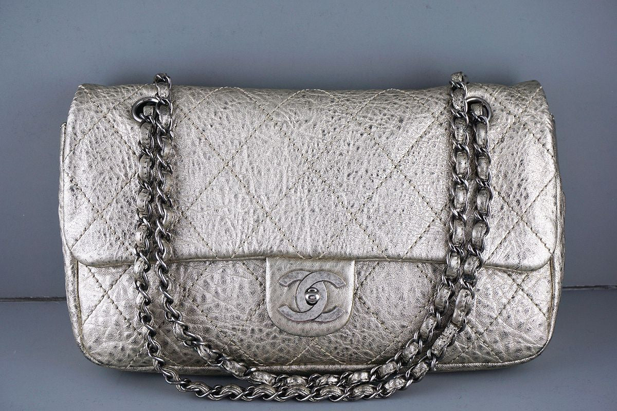 Chanel Pewter Gold Le Marais Pebbled Quilted Classic Jumbo Flap Bag