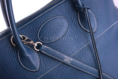Hermes Blue Thalassa Clemence 35/37cm Mou Bolide Shoulder Tote Bag - Boutique Patina  - 6