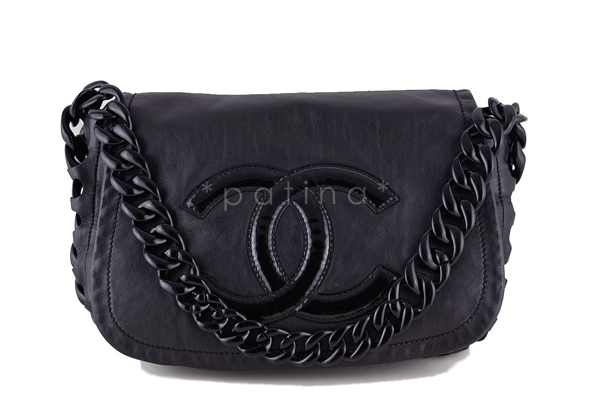 Chanel Black Luxury Modern Chain Resin Jumbo Flap Bag