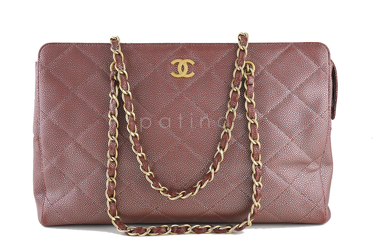 Chanel Pink Bronze Metallic Caviar Quilted Large Shopper Tote Bag