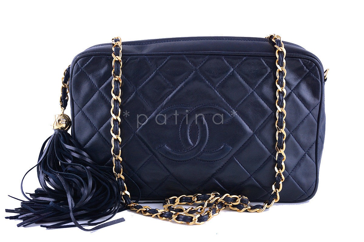 Chanel Navy Blue Classic Quilted Camera Case, Lambskin Bag