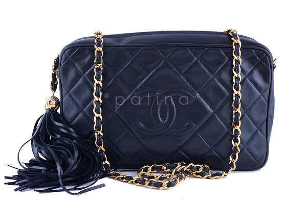 ef9bb10645ca Chanel Navy Blue Classic Quilted Camera Case, Lambskin Bag