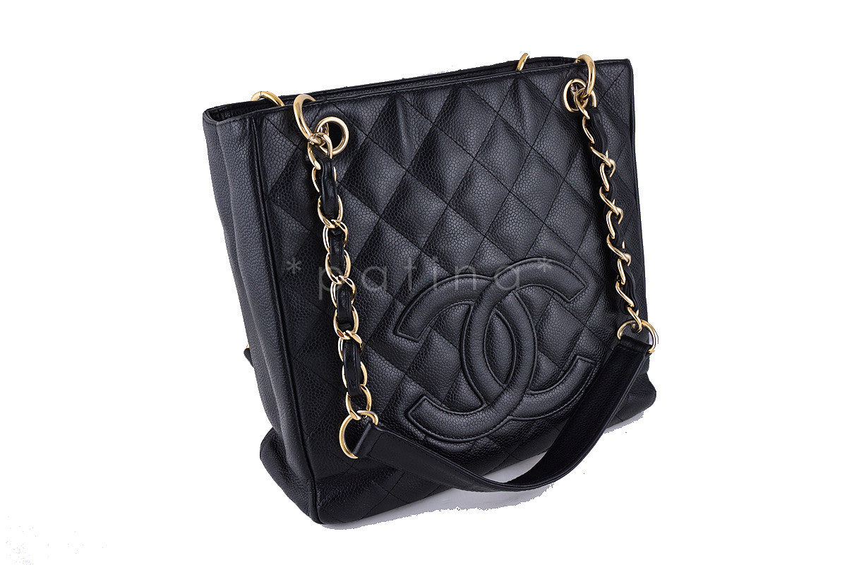 Chanel Black Caviar Classic Petite Shopper Tote PST Bag