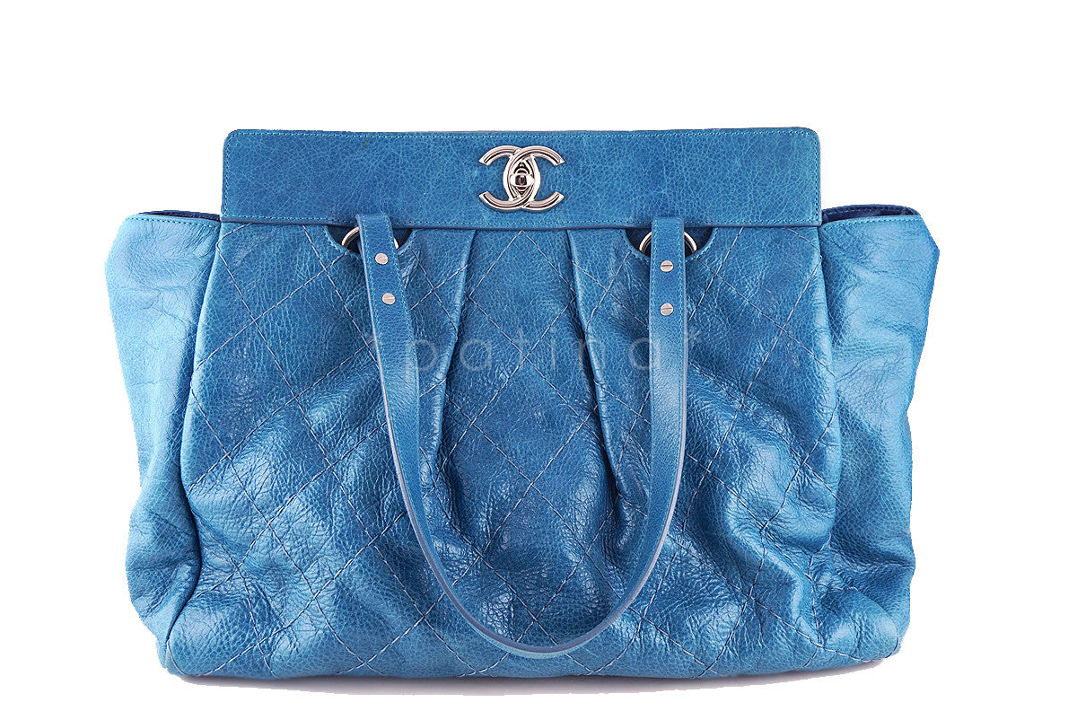 Chanel Turquoise Blue On the Road Giant Quilted Classic Tote Bag - Boutique Patina  - 1