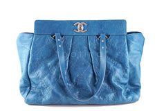 Chanel Turquoise Blue On the Road Giant Quilted Classic Tote Bag