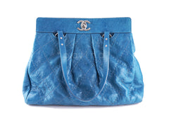 Chanel Turquoise Blue On the Road Giant Quilted Classic Tote Bag - Boutique Patina  - 2