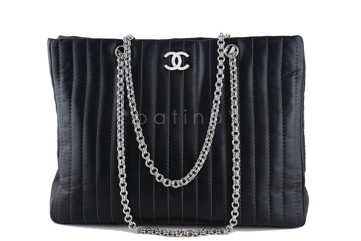 Chanel Luxe Black Lambskin Large Mademoiselle Bijoux Chain Tote Bag