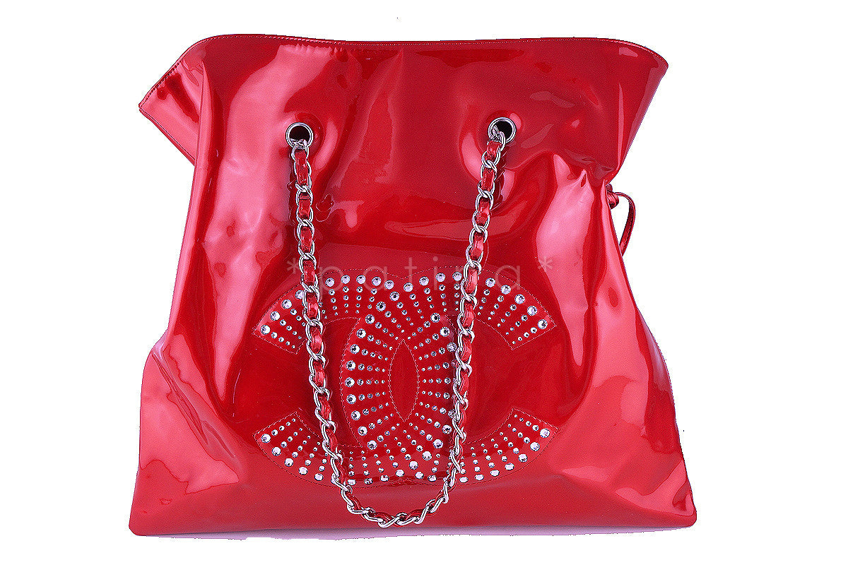 Rare Chanel XL Red Patent Leather Strass Crystals Bon Bons Tote Bag - Boutique Patina  - 1