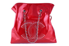Rare Chanel XL Red Patent Leather Strass Crystals Bon Bons Tote Bag