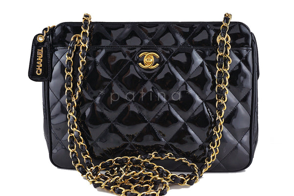 Chanel Black Quilted Classic Large Camera Case CC Clasp Pocket  Bag