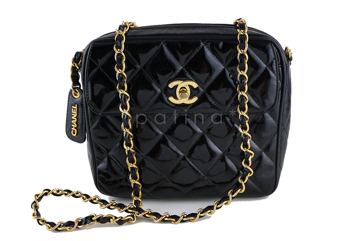 Chanel Patent Black Classic Quilted Small Flap Camera Case Bag