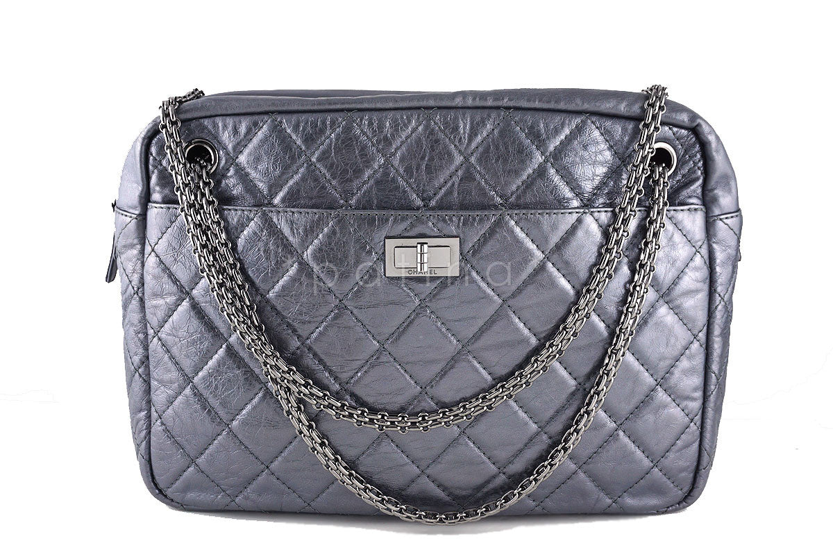 Chanel Jumbo Dark Silver Classic 2.55 Reissue Camera Case Bag